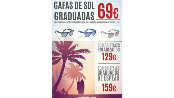 Cartel de promoción de gafas de sol graduadas.