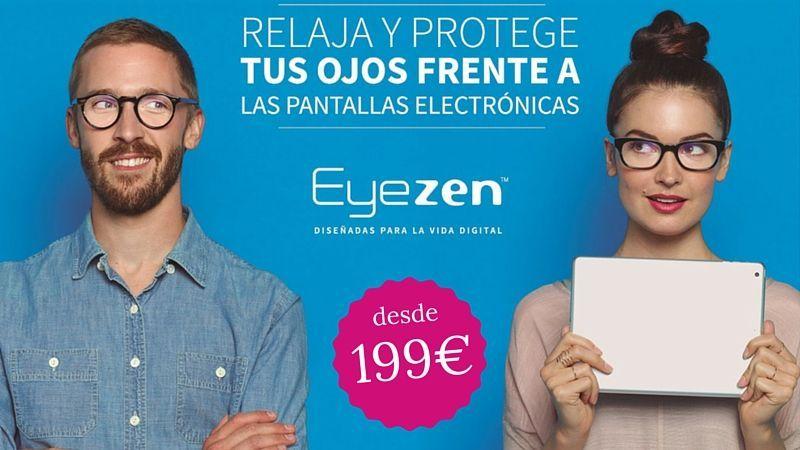 Cartel de promoción EyeZen para relajar y proteger los ojos.