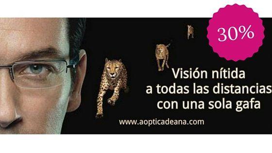 Cartel de gafa con cristal progresivo personalizado para una visión nítida a todas las distancias.